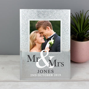 Personalised Mr & Mrs Glitter Photo Frame
