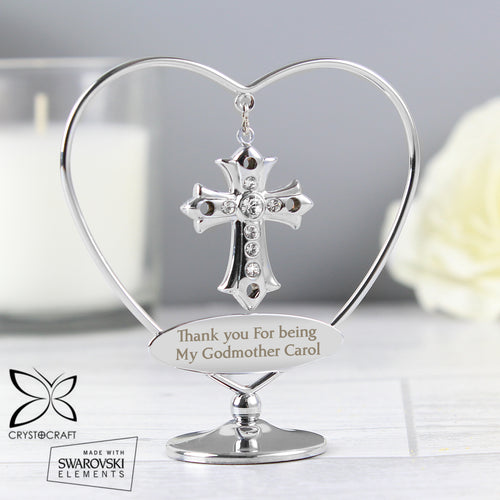 Personalised Silver Plated Godmother Crystocraft Cross & Heart Ornament