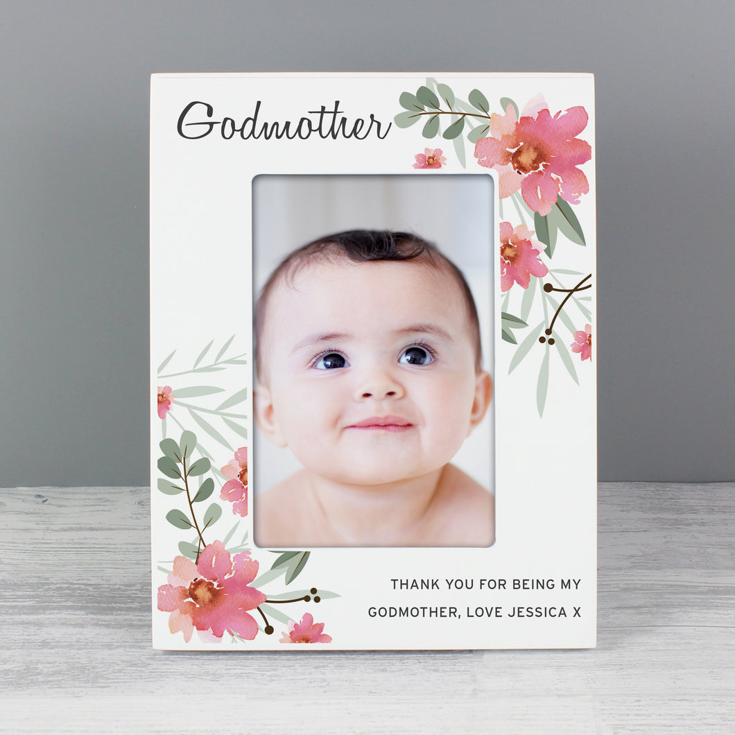 Personalised Floral Design Godmother Wooden Photo Frame