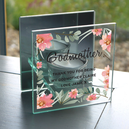 Personalised Godmother Mirrored Glass Tealight Candle Holder