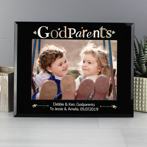 Personalised Godparents Glass 7x5 Photo Frame