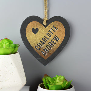 Personalised Golden Slate Heart Hanging Decoration