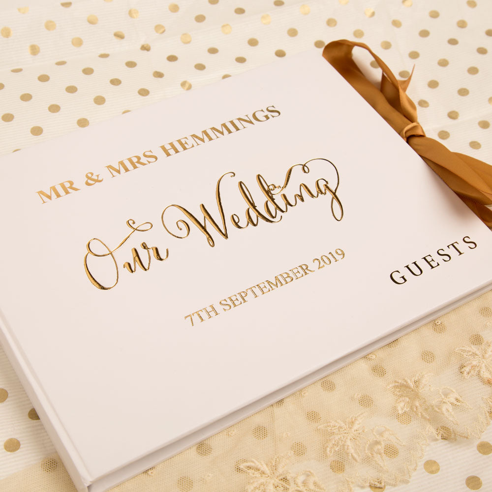 Personalised Gold Foil Printed Wedding Keepsake Guest Book