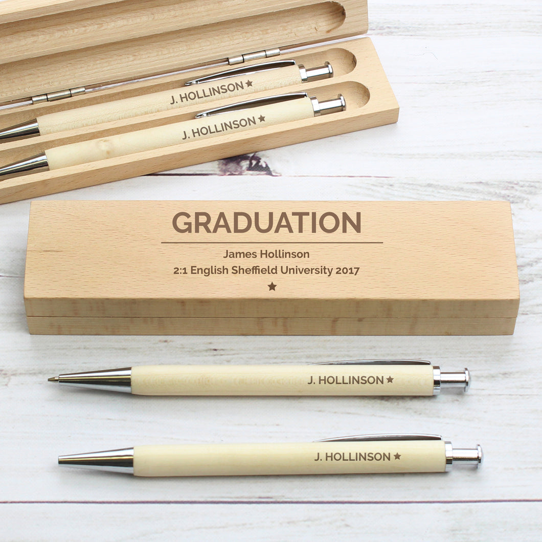 Personalised Pen & Pencil Set In Beechwood Case