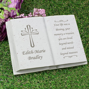 Personalised Cross Design Memorial Resin Book Graveside Ornament
