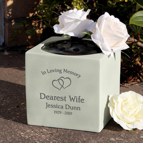 Personalised Entwined Hearts Design Memorial Graveside Vase