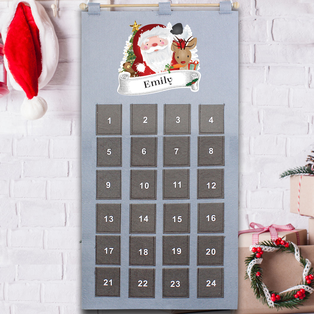 Personalised Santa Design Silver & Grey Felt Advent Calendar