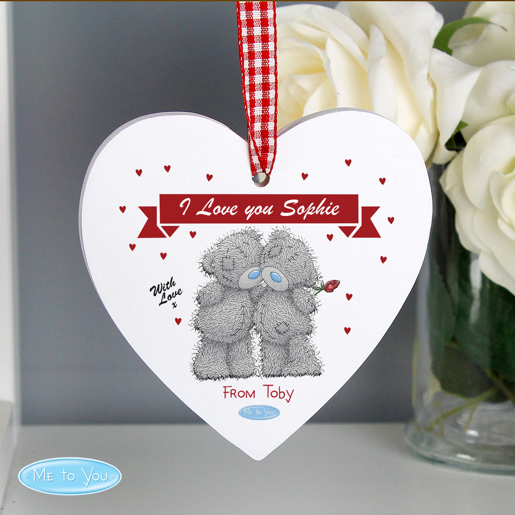 Personalised Me to You Wooden Hanging Heart Decoration