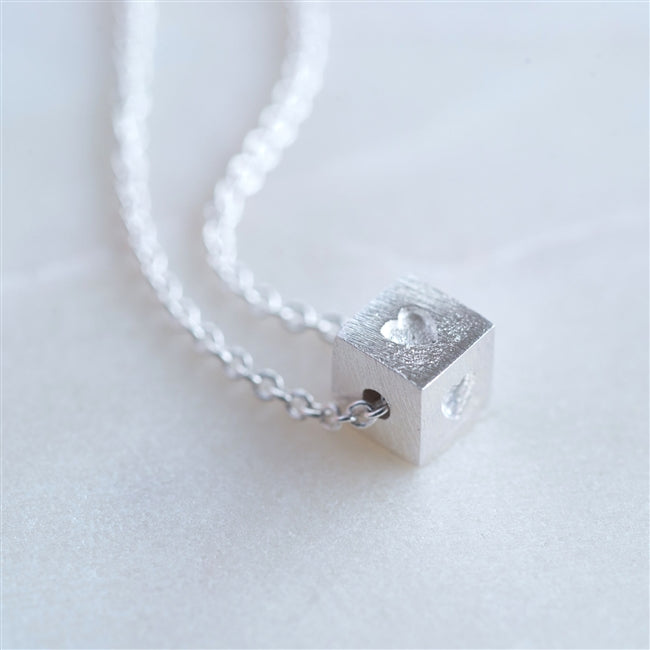 Dainty Sterling Silver Cube Necklace In Personalised Gift Box