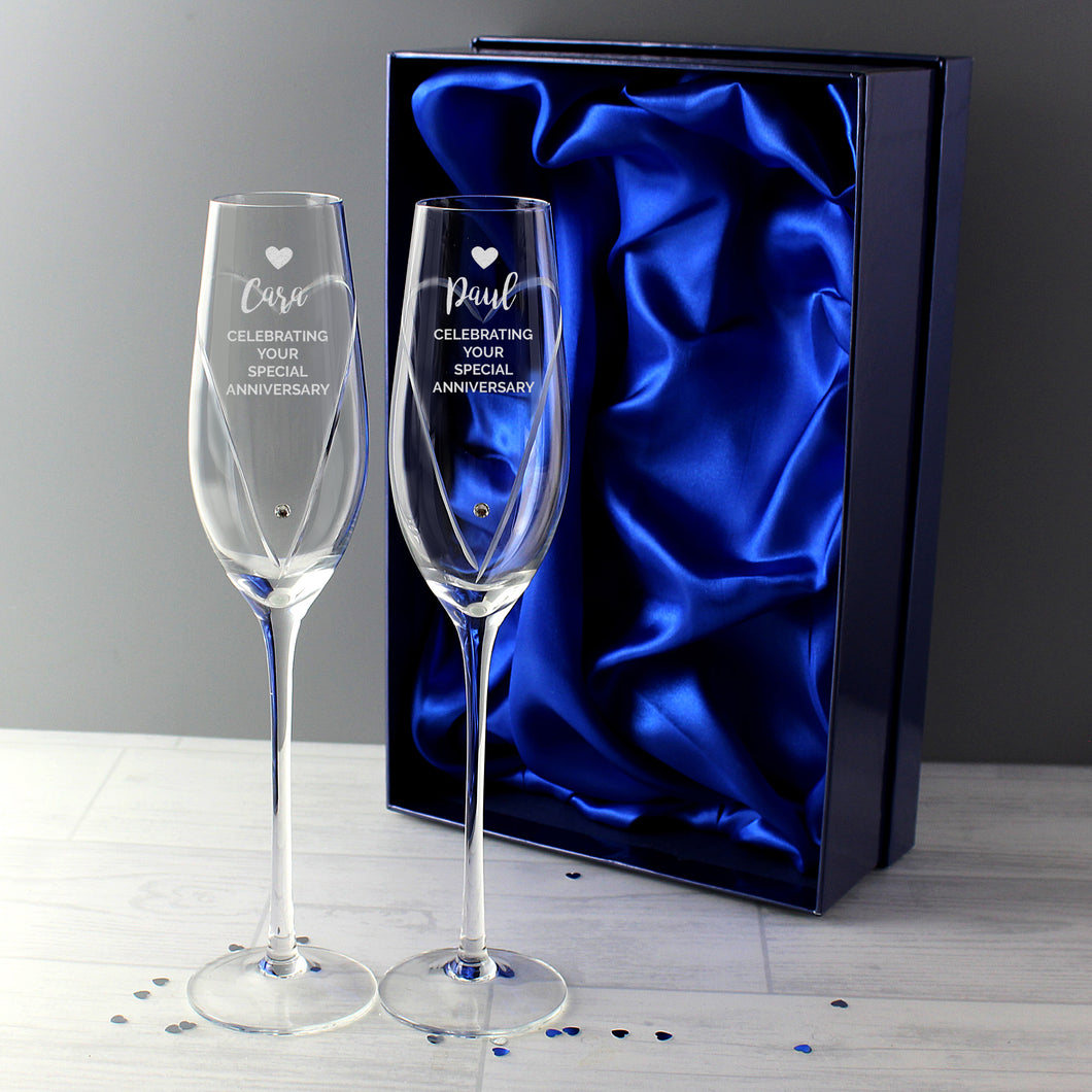 Personalised Heart Design Hand Cut Pair of Flutes with Swarovski Elements In Gift Box