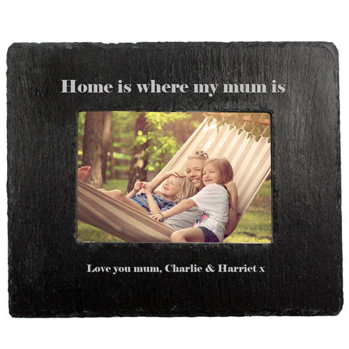 Personalised Home Is Where My Mum Is Slate Photo Frame