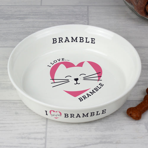 Personalised I Love My Cat Cat's Food / Water Bowl