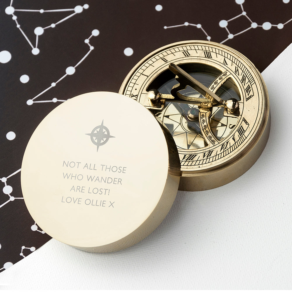Personalised Brass Sundial Compass