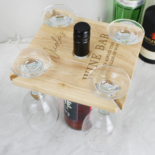 Personalised Wine Bar Wine Glass Holder & Bottle Butler