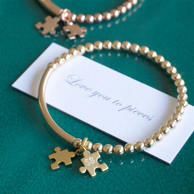 Personalised Gold Filled Jigsaw Piece Bracelet With Personalised Gift Box