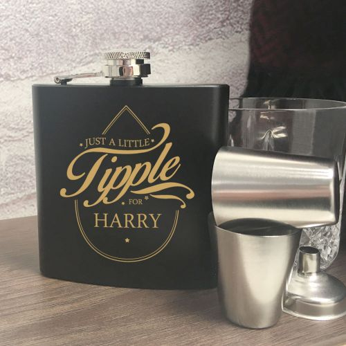 Personalised Just A Little Tipple Hip Flask Gift Set