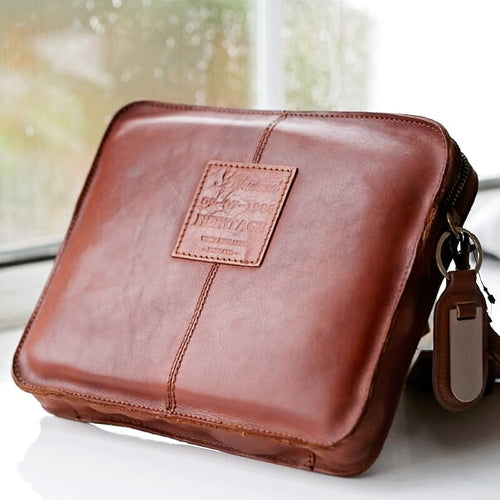 Vintage Leather Tablet Bag With Personalised Name Tag