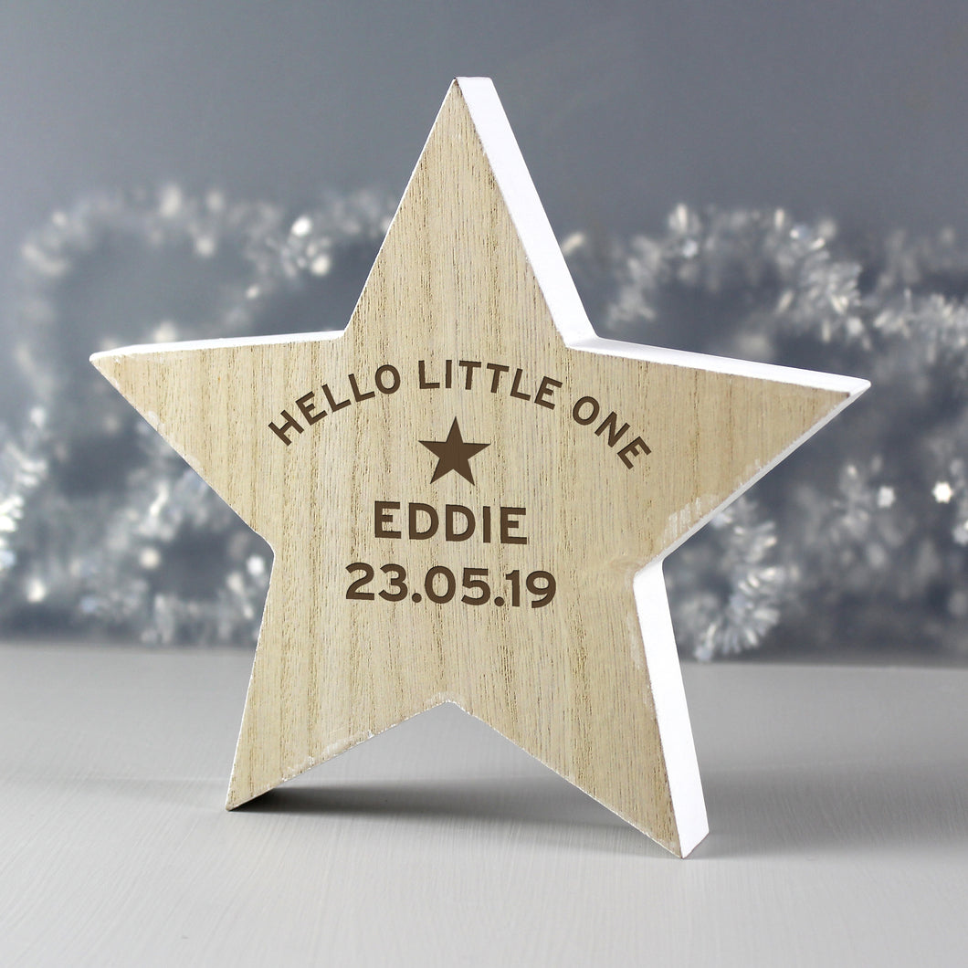Personalised Hello Little One Wooden Star