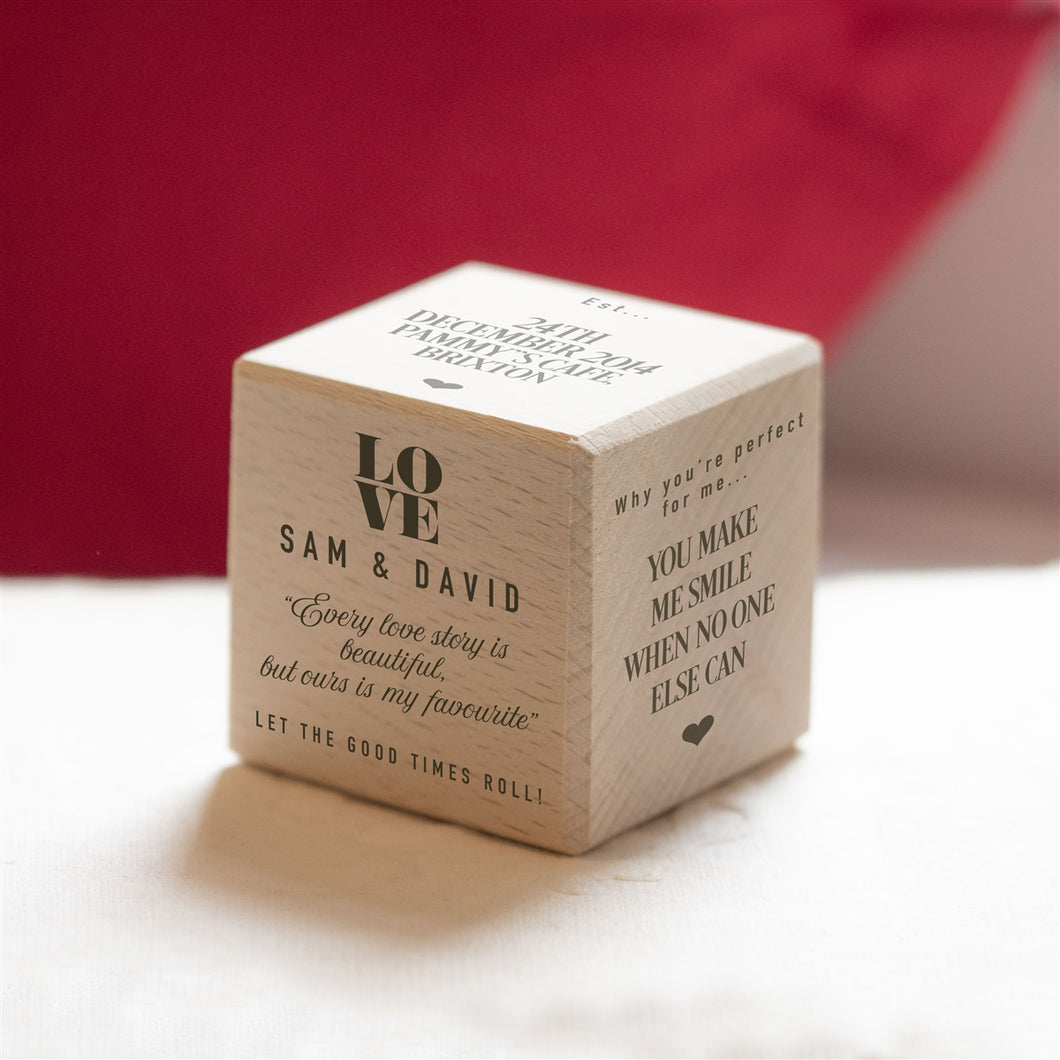 Personalised Love Story Wooden Keepsake Dice