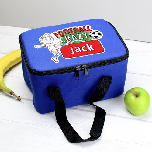 Personalised Football Crazy Insulated Lunch Bag
