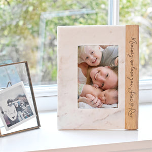 Personalised Marble & Mango Wood Photo Frame