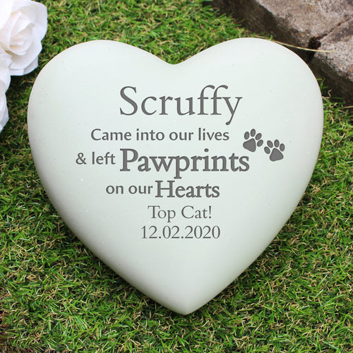 Personalised Paw Prints Heart Memorial Stone