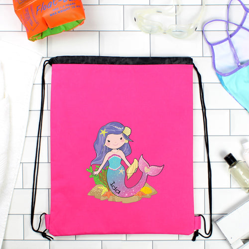 Personalised Mermaid Pink Swimming Bag