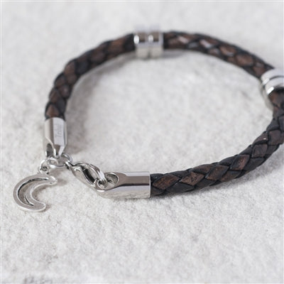 Moon & Back Leather Bracelet With Personalised Gift Box