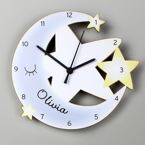 Personalised Moon & Stars Wooden Wall Clock