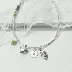 Personalised Silver Three Charm Bracelet