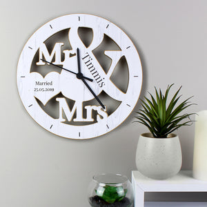 Personalised Mr & Mrs Wooden Wall Clock