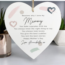 Load image into Gallery viewer, Personalised Reasons Why I Love You Wooden Heart Decoration