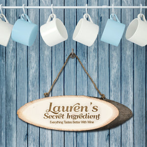 Personalised Secret Ingredient Rustic Hanging Wooden Sign