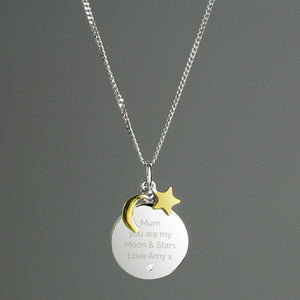 Personalised Moon & Stars Sterling Silver & Gold Plated Necklace