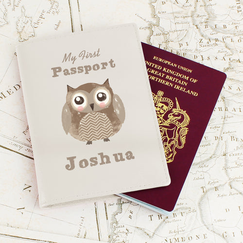 Personalised My First Passport Owl Design Leather Passport Holder
