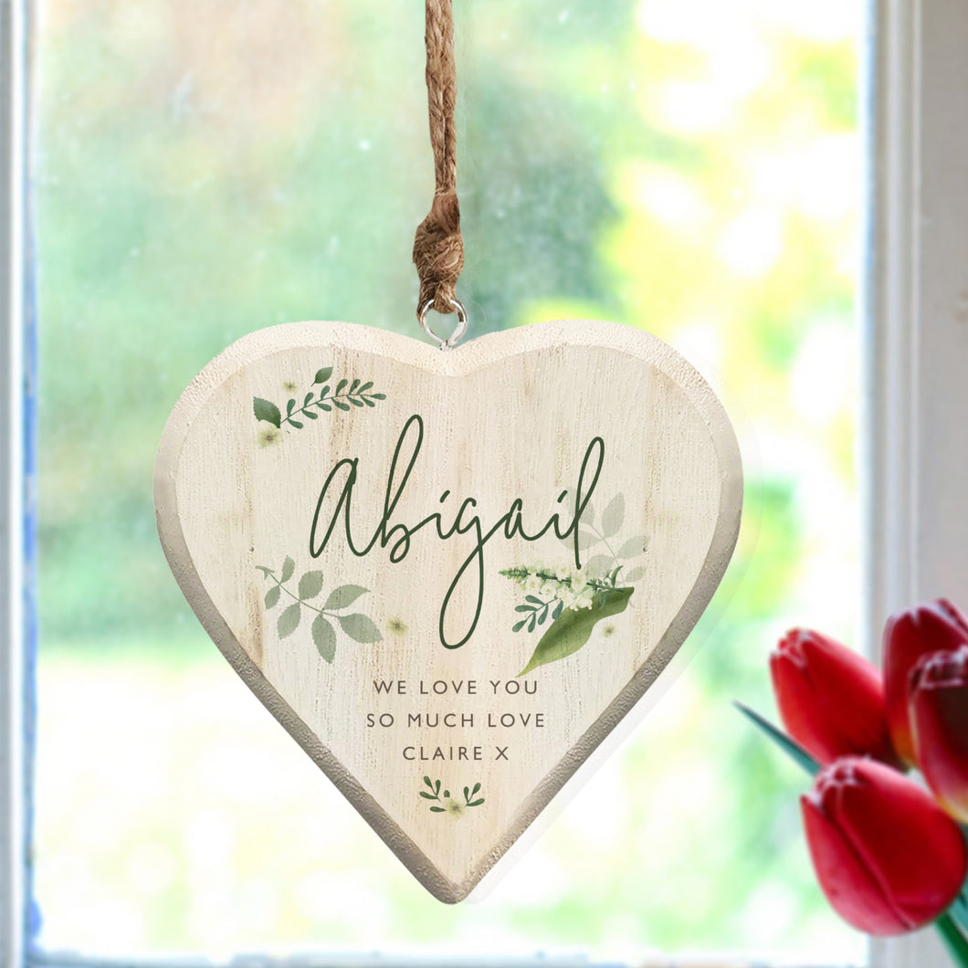 Personalised Green Leaf Design Painted Hanging Heart Decoration