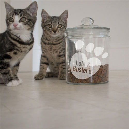 Personalised Paw Design Glass Cat's Treat Jar