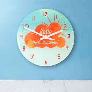 Personalised Hello Sunshine Glass Wall Clock