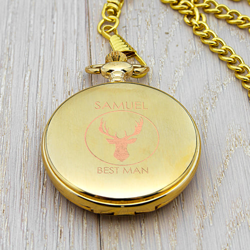 Personalised Stag Design Best Man Pocket Watch