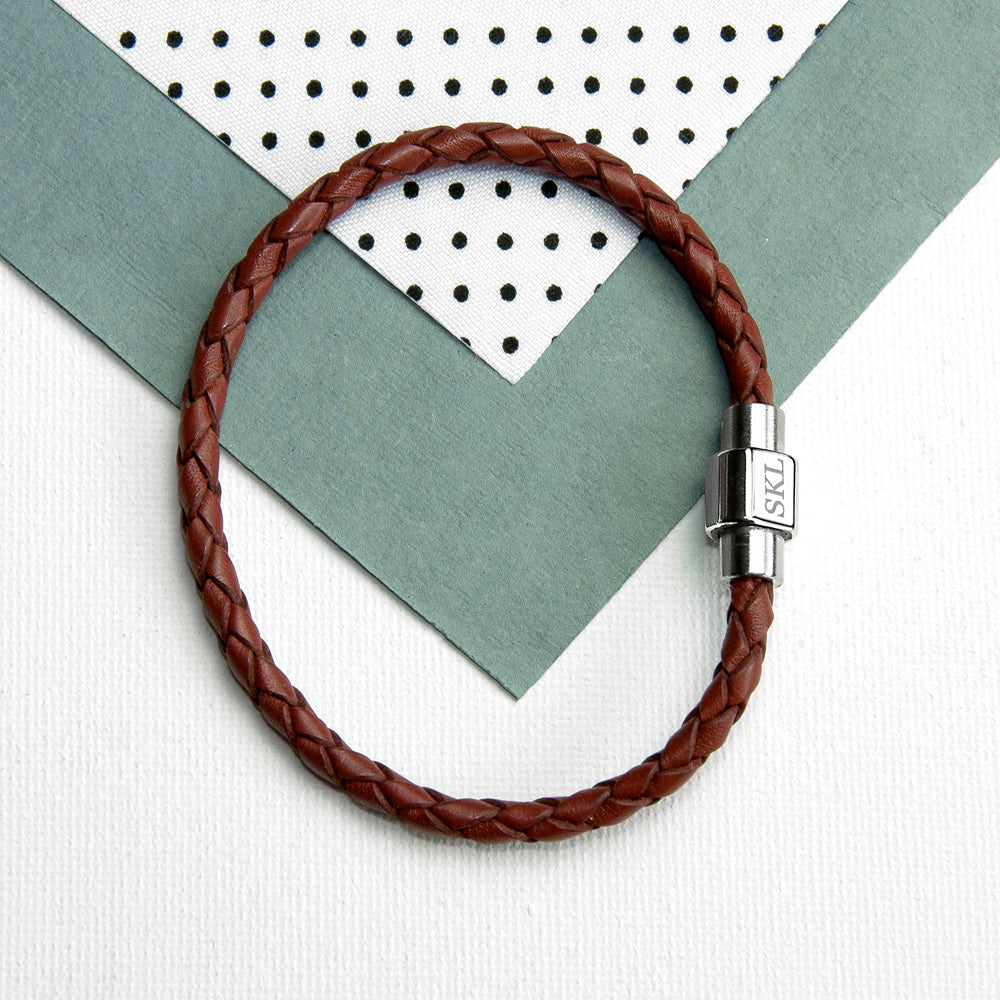 Personalised Woven Brown Leather Men's Bracelet