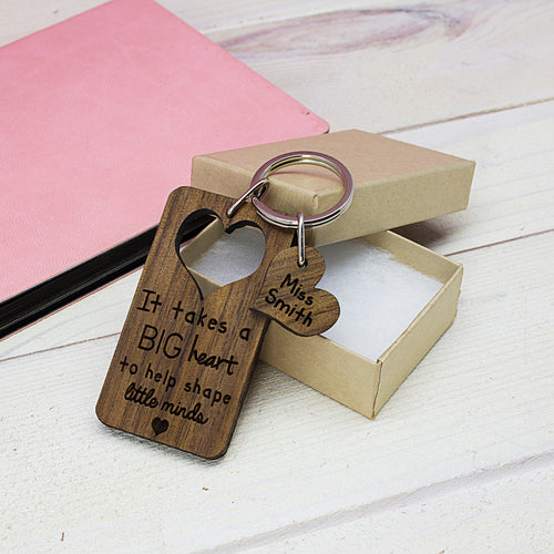 Personalised Teacher's Wooden Keyring