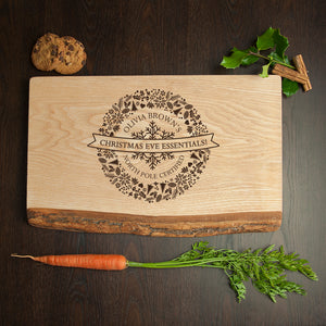 Personalised Christmas Eve Essentials Rustic Wooden Serving Board
