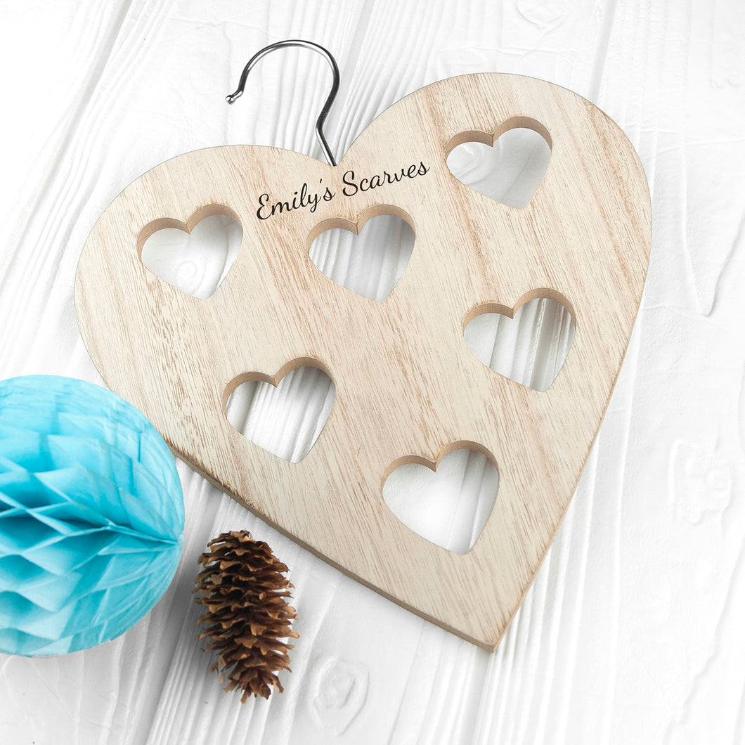 Personalised Wooden Heart Shaped Scarf Hanger