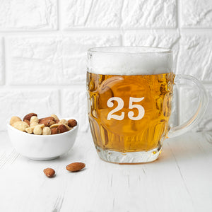 Traditional Dimple Beer Glass Personalised With Any Age