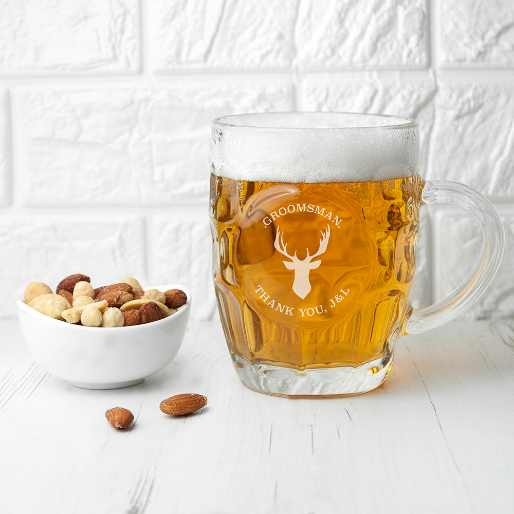 Personalised Stag Design Groomsman Traditional Dimple Beer Glass