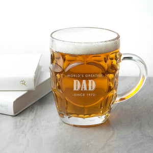 Personalised World's Greatest Dad Traditional Dimple Beer Glass