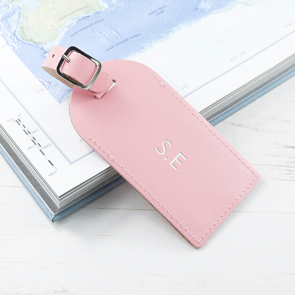 Personalised Pastel Pink Leather Luggage Tag