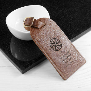 Personalised Tan Leather Compass Design Luggage Tag
