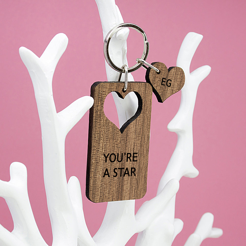 Personalised Heart Shaped Wooden Keyring