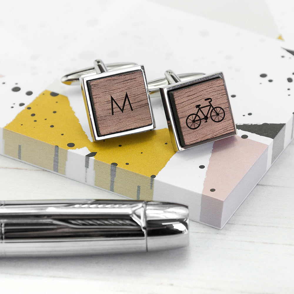 Personalised Bike Design Walnut Cufflinks